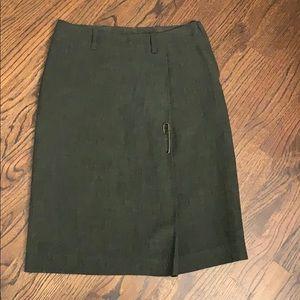 H&M khaki brown skirt straight midi 4.